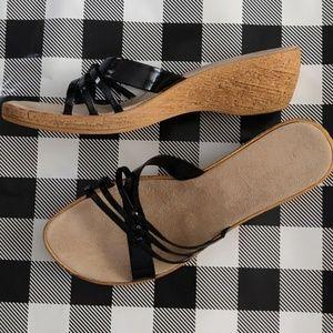 Italian🇮🇹Made Wedge Black Strap Sandals